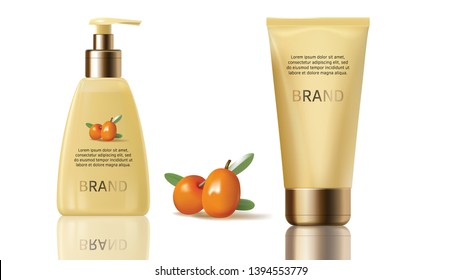 Sea buckthorn cosmetics vector realistic objects set. Elegant packaging with cosmetic cream or lotion, juicy orange seaberry, olive green leaves isolated on white background, magazine mockup