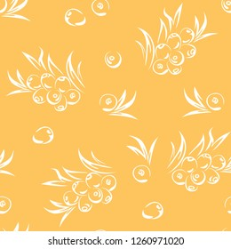 Sea buckthorn seamless pattern on yellow background. Vector simple illustration with berries and leaves.