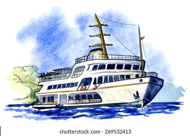 Sea bus is a popular public transport in Istanbul. Traced watercolor sketch with a line drawing in a separate layers isolated on white background. EPS10 vector illustration.