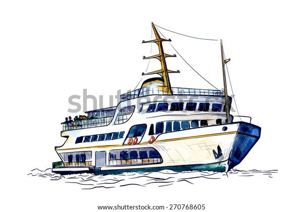 Sea Bus Popular Public Transport Istanbul Stock Vector Royalty