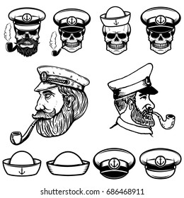 Sea captain illustrations. Skulls in sailor hats. Design elements for logo, label, emblem, sign. Vector illustration