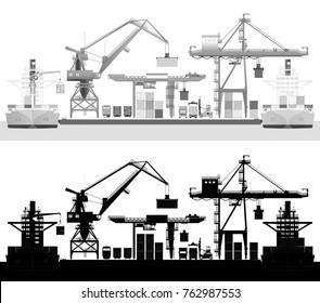 Sea cargo port, container ship and harbor cranes. Front view, water transport, gray-scale vector.