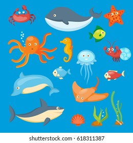 Sea cartoon animals set, including octopus, fish, whale, jellyfish, dolphin, crab, vector illustration
