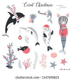 Sea Christmas concept clip arts set. Mermaid in pullover, seal in Santa hat, Narwhal  with decoration ball, whale in stripy scarf illustrations kit. Underwater creatures celebrating Merry Xmas.