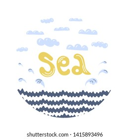 Sea circle doodle with lettering, waves, splaches and clouds. Hand drawn vector illustration in flat style. Summer holiday vacation postcard design element, kids game, book, t-shirt, textile