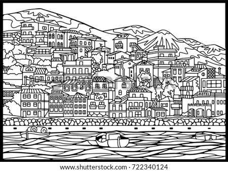 Sea City Coloring Book Line Art Stock Vector Royalty Free