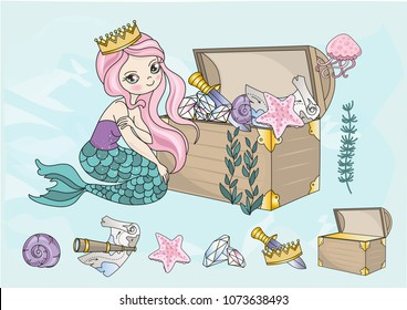 Sea Clipart MERMAID'S TREASURES Color Vector Illustration Blue Sea Ocean Underwater Magic Fairyland Cartoon Beautiful Princess Dolphin Jellyfish Gold Glitter Scrapbooking Print Card Album Babybook