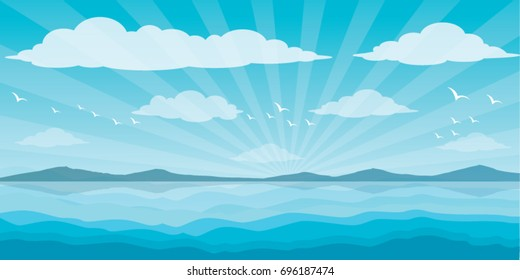 Sea and clouds, bird in the sky, sea, scene, beautiful, background, water, nature, pattern, landscape, ocean,  vector illustration