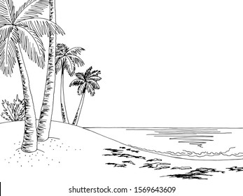 Sea coast graphic beach black white landscape sketch illustration vector