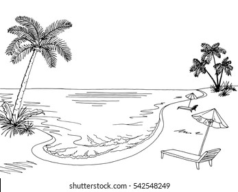 Sea coast graphic black white landscape sketch illustration vector