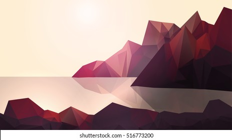 Sea Coast with and High Cliffs - Vector Illustration