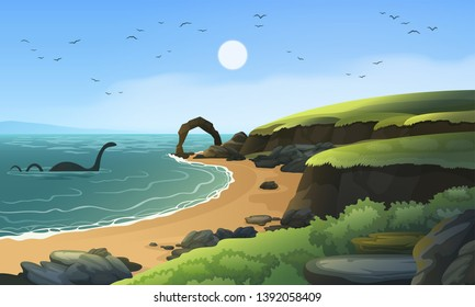Sea coast landscape with Loch Ness monster in the water. Sandy beach landscape with rocks and cliffs.