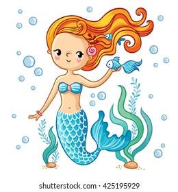 Sea collection, Mermaid. Cute  swimming cartoon mermaid. Mermaid in vector illustration.
