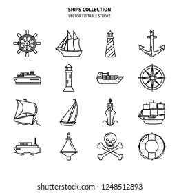 Sea collection of ship and nautical icons in line style