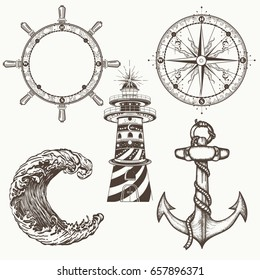 Sea collection vintage elements vector. Anchor, steering wheel, compass, lighthouse, sea wave. Hand drawn retro set