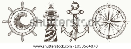 Sea collection vintage elements vector. Symbols of adventure voyage, tourism, outdoor. Anchor, steering wheel, compass, lighthouse, sea wave