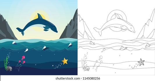 Sea coloring book for children with example of  painted image. The dolphin jumps out of the water on the background of sea landscape and mountains.  Seascape with the underwater world in the ocean.