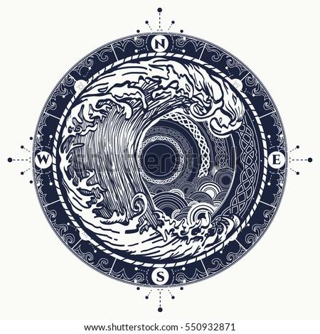 Sea Compass Storm Tattoo Celtic Style Stock Vektorgrafik Lizenzfrei