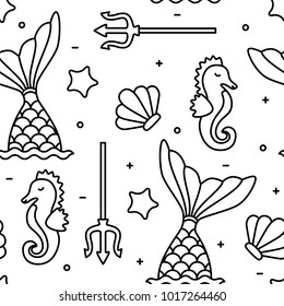 Sea concept black outline seahorse mermaid seamless pattern