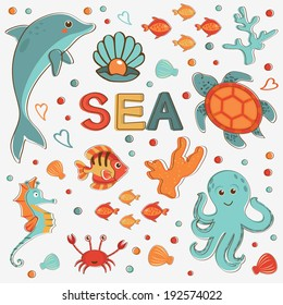 Sea creatures colorful collection. Vector illustration