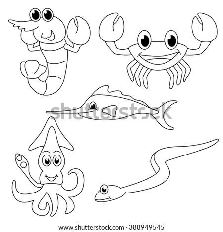 Sea Creatures Coloring Page Cute Design Stock Vector Royalty Free