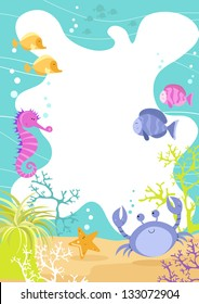 Sea Creatures Fun Border Colorful fun children's border with sea creatures, waves, crab, seahorse, tropical fish, and coral.