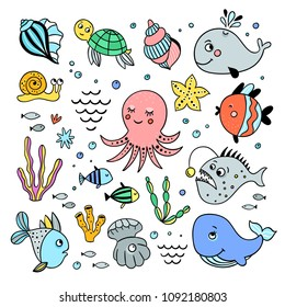 Sea creatures hand drawn set. Illustrations with cute fishes and seashells