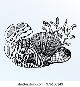 Sea creatures. Line art. Mascara. Black and white. Dudling. Zentangl. Stylized fish. Decorative. Background. Shell. Squid. Jellyfish. Carp. Sink. Snail. Octopus. Sea bottom. Of algae. Whale. Flounder.