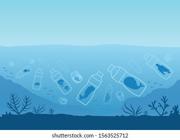 Sea creatures are in plastic waste. Plastic bottles and plastic bags are harmful to animals and the environment under the sea.