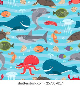 Sea creatures seamless background. Whale and shark, dolphin and octopus. Vector illustration