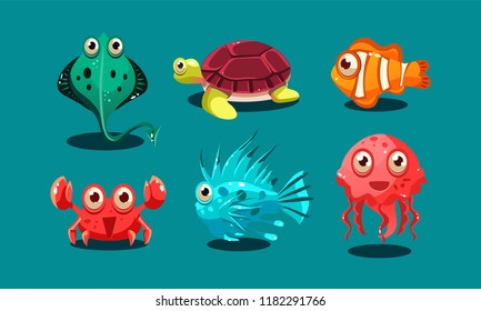 Sea creatures set, cute funny animals and fishes characters, octopus, flounder, jellyfish, clown fish, turtle and medusa vector Illustration