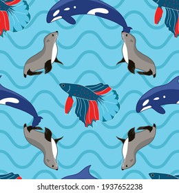 Sea creatures vector repeat pattern design on blue waves background