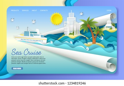 Sea cruise landing page website template. Vector paper cut cruise liner floating on ocean waves, dolphins, seagulls, islands, tourist resorts. Sea voyage concept.