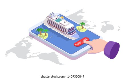 Sea cruise online booking. Vector isometric smartphone with passenger liner, islands with palm trees and human hand pushing book now button. Cruise deals, voyage concept for web banner, website page.