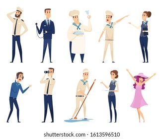 Sea cruise. Sailing captain shipping officer navigating crew ocean travel team vector characters