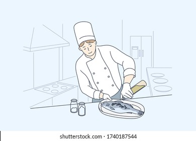 Sea, cuisine, cooking, fish concept. Young man or boy professional cooker chef cartoon character preparing salmon or trout at restaurant or cafe. Cooking healthy vegan or vegetarian food illustration.