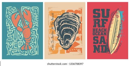Sea adventure design for the summer. Shell surf and lobster T-shirt design.Vector illustration.