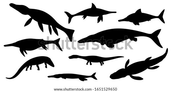 Vector De Stock Libre De Regalias Sobre Siluetas Negras De Dinosaurios Marinos De1651529650 Los dinosaurios marinos más conocidos suelen ser los plesiosaurios, tal vez por el mito del monstruo del lago ness de escocia. https www shutterstock com es image vector sea dinosaur black silhouettes vector jurassic 1651529650