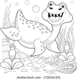 Sea dinosaur under water. Coloring for children.