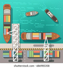 Sea dock or cargo seaport with floating ships and boats. Top view vector illustration. Sea ship and cargo transportation in port