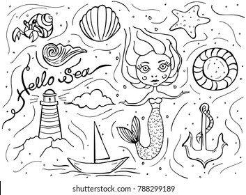 Sea Doodle Set Hand Drawn Mermaid Starfish Shell Anchor Lifebuoy