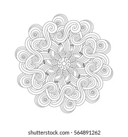 Sea element Graphic Mandala with waves and curls. Zen tangle inspired style. Coloring book (page) for adults and older children. Art vector illustration