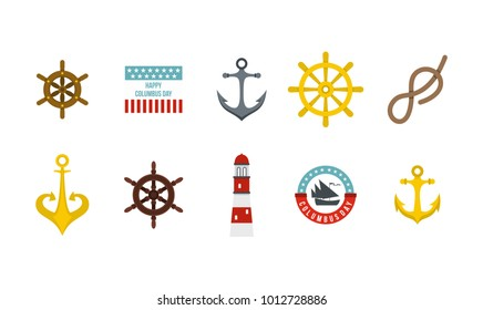 Sea element icon set. Flat set of sea element vector icons for web design isolated on white background
