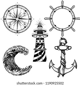 Sea elements collection vintage vector. Anchor, steering wheel, compass, lighthouse, sea wave. Symbols of sea adventure voyage, tourism, outdoor. Hand drawn retro set