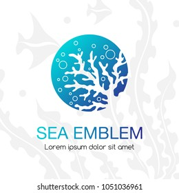 Sea emblem. Coral and bubbles. Underwater tropical life icon. Sign for oceanarium, aquarium or travel company.