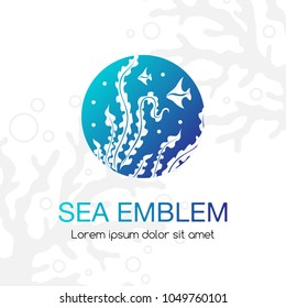 Sea emblem. Seaweeds and tropical fishes. Underwater life icon. Sign for oceanarium, aquarium or travel company.