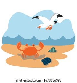 sea fauna. crab,  seagull, shells on the beach.  against the background of the sea with the waves.     cute flat simple illustration