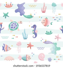 Sea fish characters cartoon seamless background. Sealife cute pattern with glitter elements. Textile for kids, notebook cover, wrapping paper. Vector illustration