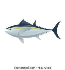 Sea fish. Colorful fish of sea tuna. Fish and shellfish, eating, delicious menu, market fish to around the world. Vector flat illustration.