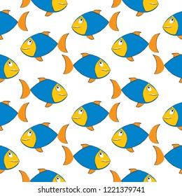 Sea fish drawing with ink on white background, summer seamless pattern background